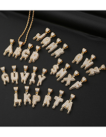 Fashion A (not Including Twist Chain) Copper Micro-inlaid Zircon English Alphabet Drop Necklace
