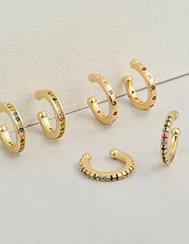 Fashion C Copper Micro-inlaid Colorful Zircon Earrings