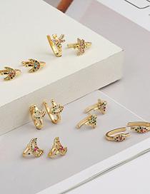 Fashion F Copper Micro Inlaid Colored Zircon Moon Bee Lip Stud Earrings