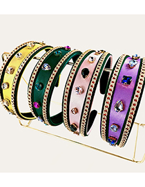 Fashion Purple Zircon Chain Flat Headband