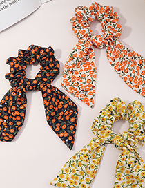 Fashion Black Ribbon Floral Bow Knotted Hair Tie