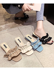 Fashion Apricot Block Heel Open Toe Ruffled Sandals