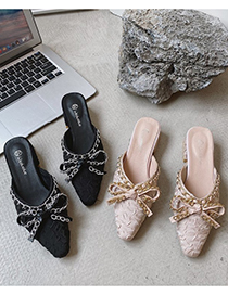 Fashion Apricot Baotou Bow Middle Heel Sandals