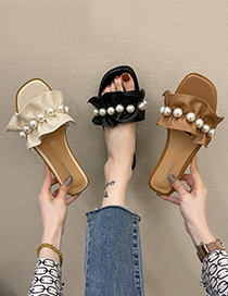 Fashion Brown Ruffled Pearl Flat Sandals And Slippers