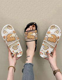 Fashion Black Cartoon Thick-soled Bear Slippers