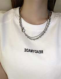 Fashion Silver Color Titanium Steel Chain One Word Buckle Necklace