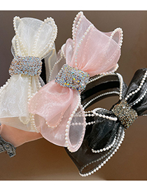 Fashion Light Pink-c Organza Bow And Pearl Headband