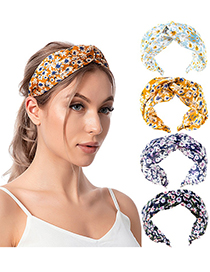 Fashion 4 Sky Blue Cross Daisy Print Small Floral Headband