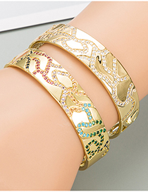 Fashion Gold Color Hollow Copper Inlaid Colorful Zircon Bracelet