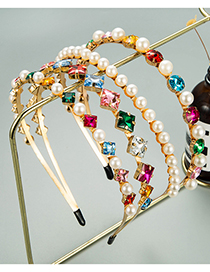 Fashion Round Shape Double Metal Pearl Inlaid Rhinestone Headband