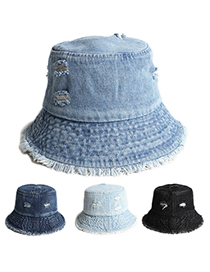 Fashion Dark Blue Ripped Denim Sun Hat With Raw Edge