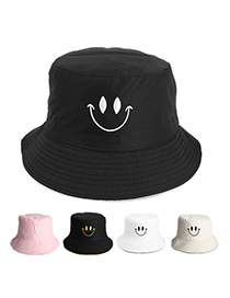 Fashion Khaki Smiley (black On The Back) Smiley Embroidered Double-sided Fisherman Hat