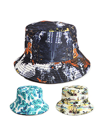 Fashion Black Blue Printed Double-sided Fisherman Hat