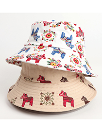 Fashion White Cartoon Printed Trojan Horse Flower Fisherman Hat