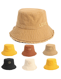 Fashion Beige Embroidered Fisherman Hat With Raw Edge Love Letters And Flowers