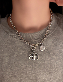 Fashion Silver Color Double Letter Necklace