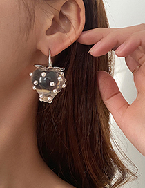 Fashion Silver Color Pearl Transparent Strawberry Ear Hook