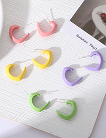 Fashion Pink C-shaped Candy Color Earrings