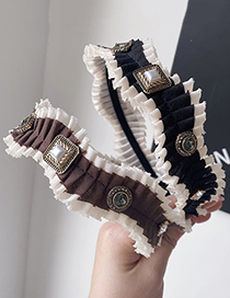 Fashion Coffee Color Folded Wave Pearl Serrated Headband