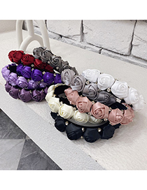 Fashion Taro Purple Three-dimensional Flower Diamond Rose Headband