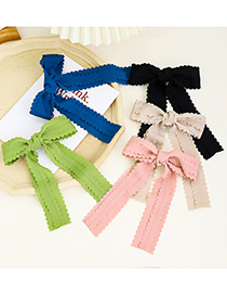 Fashion Beige Lace Solid Color Fabric Bow Ribbon Hairpin