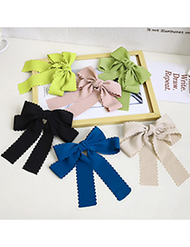 Fashion Beige Pure Color Lace Bow Ribbon Hairpin