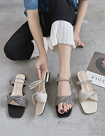 Fashion Creamy-white Plaid Rhinestone Strappy Sandals