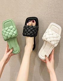 Fashion Brown Twisted Woven Flat Slippers