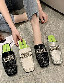 Fashion Silver Color Square Toe Slippers With Chain Pearl Stone Pattern
