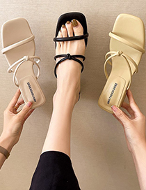 Fashion Creamy-white Open-toed Thick Heel Roman Sandals