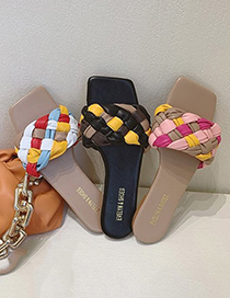 Fashion Pink Colorful Braided Belt Twist Flat Sandals And Slippers