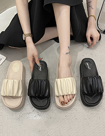 Fashion Beige Platform Pleated Flat Slippers