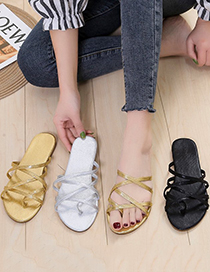 Fashion Gold Color Cross-toe Flat Sandals And Slippers With Thin Straps