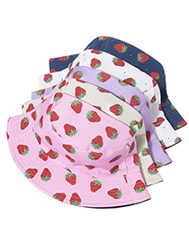 Fashion Beige Double-sided Strawberry Embroidery Foldable Fisherman Hat