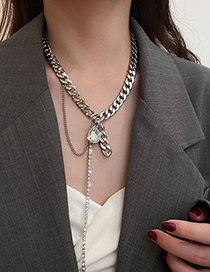 Fashion Silver Color Rhinestone Drop Tassel Necklace