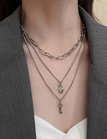 Fashion Silver Color Love Key Lock Multilayer Necklace