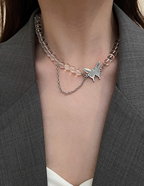 Fashion Silver Color Crystal Butterfly Necklace