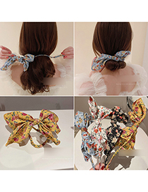 Fashion Black Gauze Flower Bow Tie Hair Iron