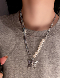 Fashion Silver Color Pearl Butterfly Necklace