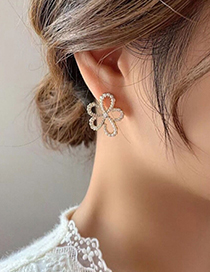 Fashion Gold Color Diamond Pearl Flower Earrings