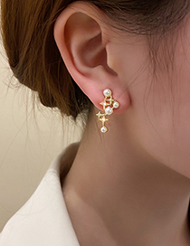 Fashion Gold Color Four-pointed Star Earrings With Pearls And Diamonds