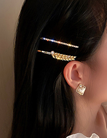 Fashion Gold (two-piece Set) Two-piece Hairpin With Diamond And Pearl Wheat Ears
