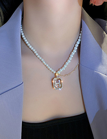 Fashion Pearl Letters Pearl And Diamond Letter H Necklace