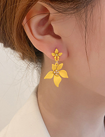 Fashion Blue Flower Five Petal Flower Earrings