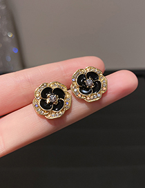 Fashion Flowers Double Diamond Flower Earrings