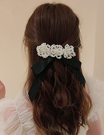Fashion Bow Hairpin (spring Clip) Pearl Flower Bow Hairpin