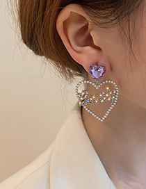 Fashion Purple Love Purple Love Letters Diamond Earrings