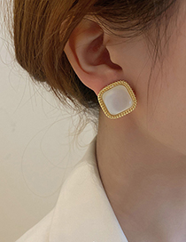 Fashion Style- Geometric Square Opal Stud Earrings