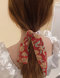 Fashion Red Pearl Entwined Bowknot Tassel Hair Tie