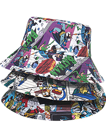 Fashion Map 2 Cartoon Print Comic Fisherman Hat